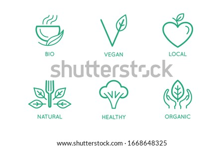 Raw Vegan food label line style logo with green broccoly, sticker template for product packaging, ve Stock photo © MarySan