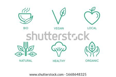 Vegan comida etiqueta linha estilo Foto stock © MarySan