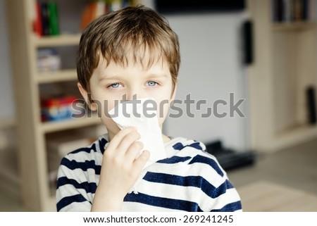Beteg fiú orr gyermek láz betegség Stock fotó © galitskaya