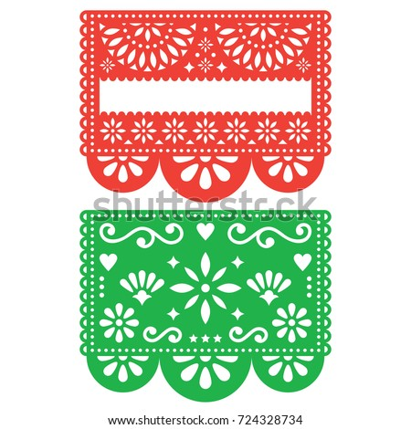 Papel Picado vector blank template design, floral green design with abstract shapes, retro Mexican p Stock photo © RedKoala
