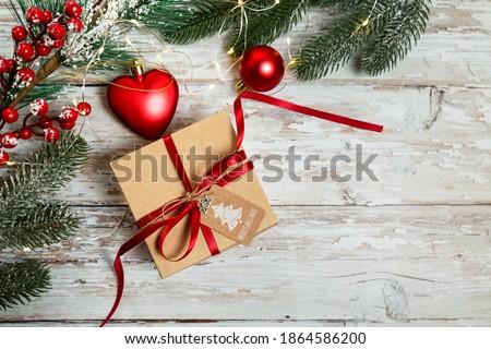 Christmas decoraties Rood witte harten dozen Stockfoto © ElenaBatkova