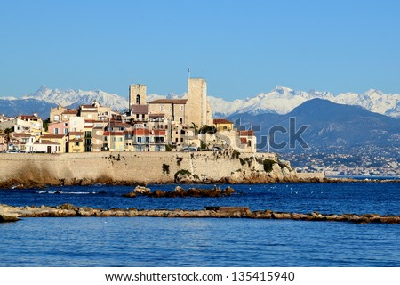 Antibes. Historic French riviera old town of Antibes view from f Stock photo © xbrchx