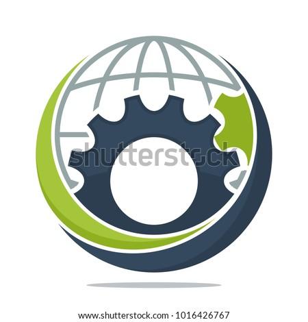 アイコン ギア 世界中 国際ビジネス プロセス ストックフォト © ussr