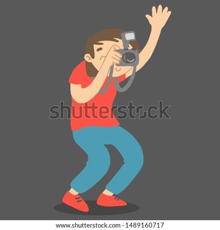 Photographer with camera and flashlight holding hand up. Vector cartoon character taking photo. Stock photo © vasilixa