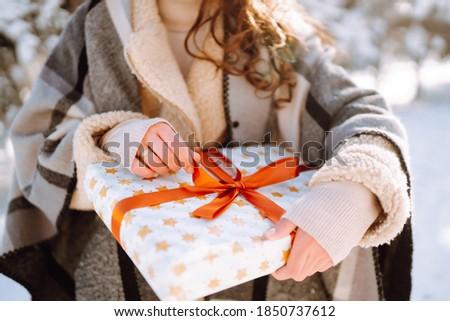 Mulher vermelho suéter inverno vida clareira Foto stock © ElenaBatkova