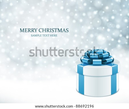 Winter holiday gift box with blue silk bow, snow glitter on marb Stock photo © Anneleven