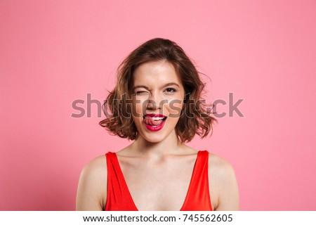 портрет красивой брюнетка женщины губ Сток-фото © vkstudio