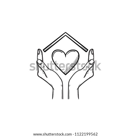 Black and white vector poster with hand drawn house with woman face and text stay home for Coronavir Stock photo © Pravokrugulnik