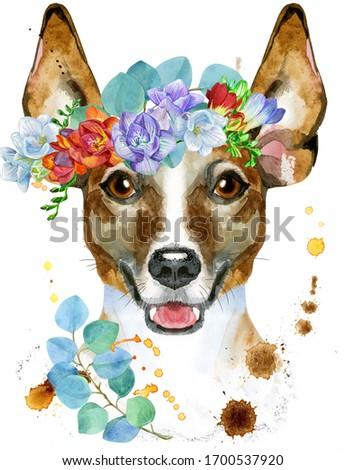 Aquarela retrato jack russell terrier coroa bonitinho cão Foto stock © Natalia_1947