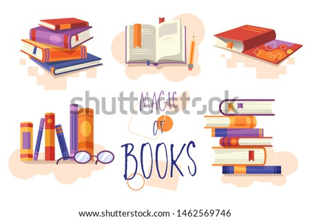Pile of colorful books or textbooks. Reading. Design for library, bookstore, publishing house, unive Stock photo © user_10144511