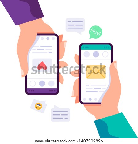 Hand holding smartphone with heart emoji message on screen, like button. Social network and mobile d Stock photo © designer_things