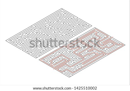 Rectangular maze of medium complexity in isometric view on white and solution with red path Stock photo © evgeny89