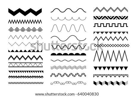 Simple ink zig zag lines geometric seamless pattern. Monochrome black and white strokes background.  Stock photo © samolevsky