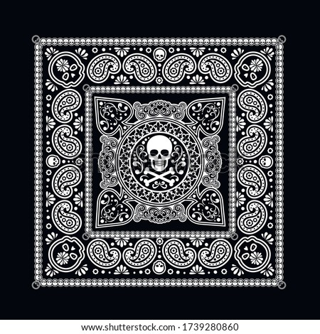 Vector ornament paisley, skulls and bones Bandana Print, fabric neck scarf or kerchief square patter Stock photo © sanyal