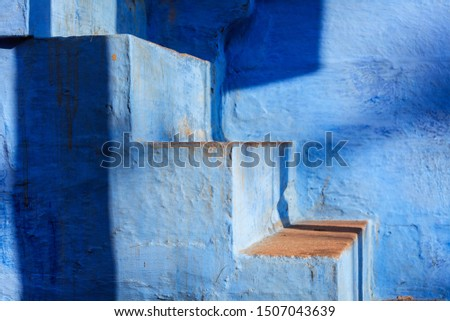 Trap Blauw geschilderd huis stad rond Stockfoto © dmitry_rukhlenko