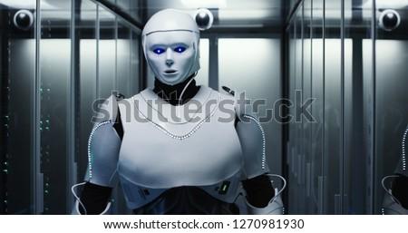 Humanoid Robot Server Room Maintenance Stock photo © limbi007