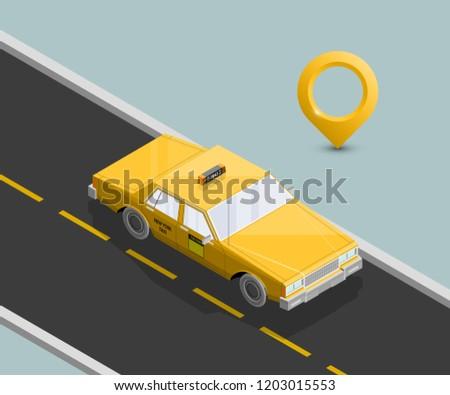 Cel online taksówką izometryczny ikona wektora Zdjęcia stock © pikepicture
