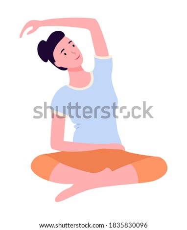 Young woman keep calm, making yoga, stretching exercises sitting at carpet on floor at home Stock photo © robuart