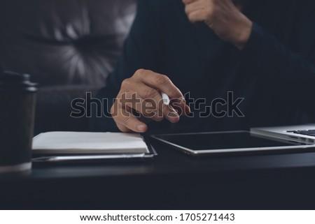 Closeup of businessman hands working on laptop Stock photo © ra2studio
