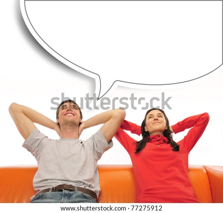 closeup portrait of adult couple sitting on their sofa against b stock photo © hasloo