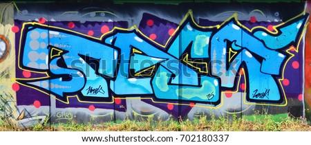duvar · yazısı · sprey · boya · doku · Bina · duvar · sokak - stok fotoğraf © jeremywhat