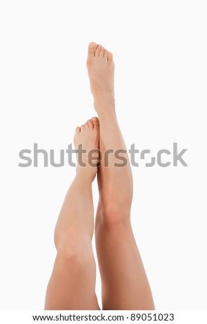 portret · front · kobiecy · nogi · w · górę · biały - zdjęcia stock © wavebreak_media