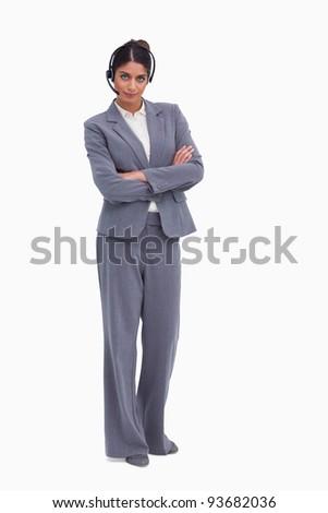 Homme centre d'appel agent bras pliées blanche Photo stock © wavebreak_media