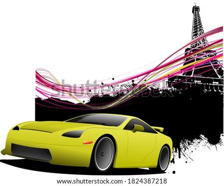 Sarı araba sedan Paris görüntü vektör Stok fotoğraf © leonido