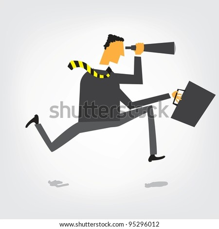 running businessman with binoculars job search concept isolated stock photo © kirill_m