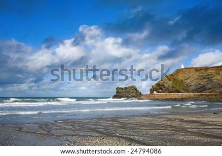 Bulutlar iskele cornwall gökyüzü su deniz Stok fotoğraf © latent