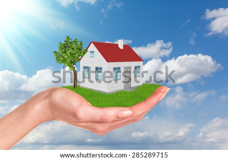 Hands holding house on green grass with label for rent, red roof, chimney, tree, wind turbine. Backg Stock photo © cherezoff