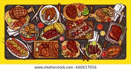 Hús kolbászok zöldségek közelkép vacsora reggeli Stock fotó © OleksandrO