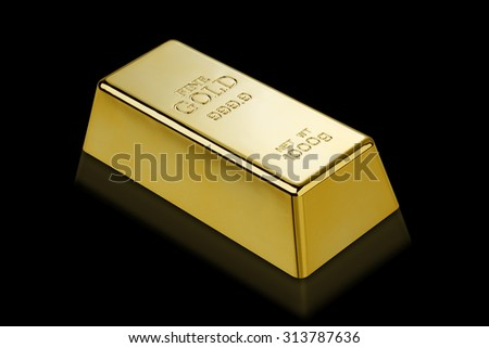 1kg gold bar isolated on a black background with clipping path Stock photo © kayros