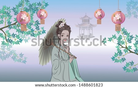 китайский Lady традиционный платье зонтик Сток-фото © maia3000