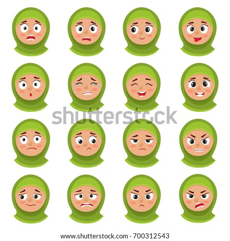 Beautiful muslim girl in green hijab. Vector illustration isolat Stock photo © maia3000