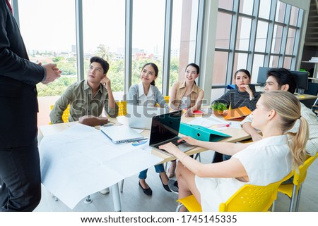 Businesswoman asian happy with his bright idea business concept  Stock photo © NikoDzhi