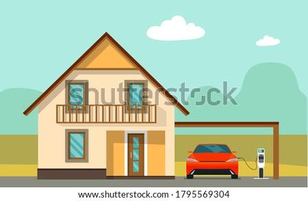 Vettore stile illustrazione auto elettrica casa pannelli solari Foto d'archivio © curiosity