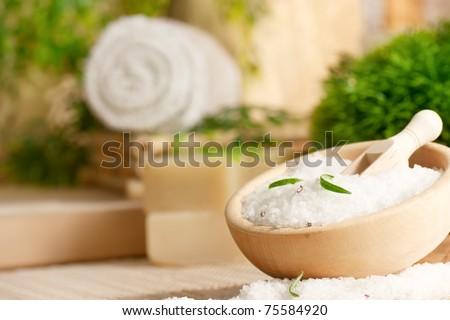 Badesalz aus grünem Bambus Stock foto © mythja