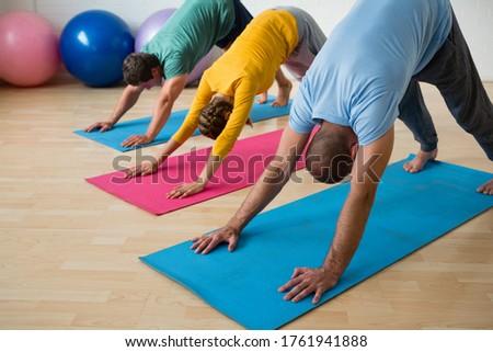 Instructor guiding students in practicing downward facing dog pose at yoga studio Stock photo © wavebreak_media