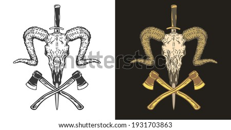 Two crossed axes vector illustration. Silhouette style. Textured lumberjack symbol. Simple design, l Stock photo © JeksonGraphics