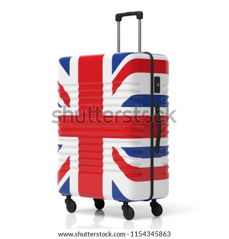 Gepäck Flagge Vereinigtes Königreich Koffer isoliert weiß Stock foto © MikhailMishchenko