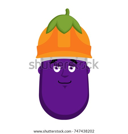 eggplant builder in protective helmet emoji avatar vector illus stock photo © popaukropa