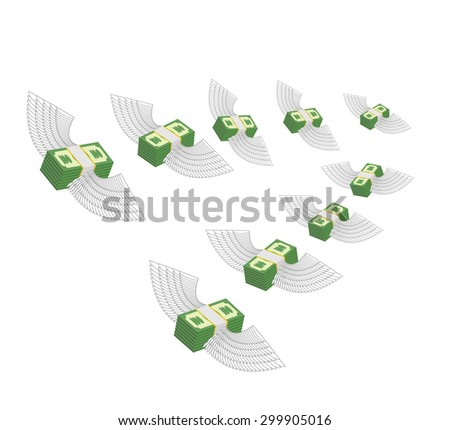 Flying winged money. Profit decreases. Loss of cash. Vector illu Stock photo © popaukropa