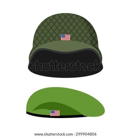 緑 ベレー帽 軍 ヘルメット 軍事 セット ストックフォト © popaukropa