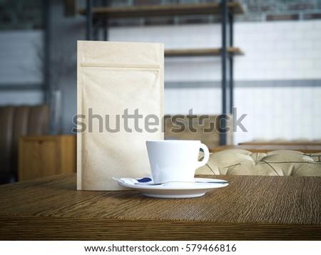 Foto stock: Blank Packaging Recycled Kraft Paper Bag With Black Teapot 3d Rendering