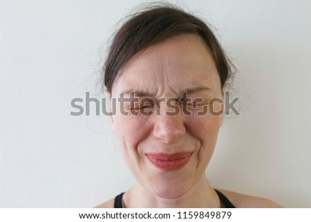 Disappointed angry business woman frowning character cartoon vec Stock photo © NikoDzhi