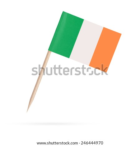 Waving flag of Ireland close-up with shadow on white background. Vector illustration with copy space Stock photo © m_pavlov