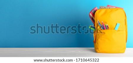 Stockfoto: Terug · naar · school · ontwerp · kleurrijk · potlood · notebook · grijs
