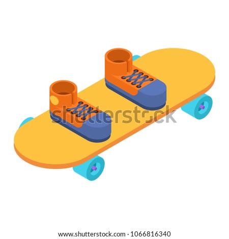Legs on skateboard isometric style. Skateboarder vector illustra Stock photo © popaukropa