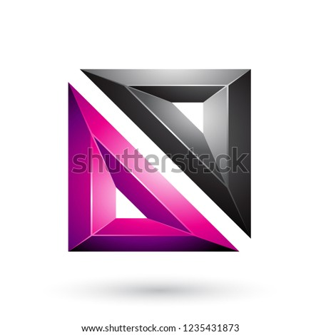 Magenta and Black Frame Like Embossed Square Shape Vector Illust Stock photo © cidepix